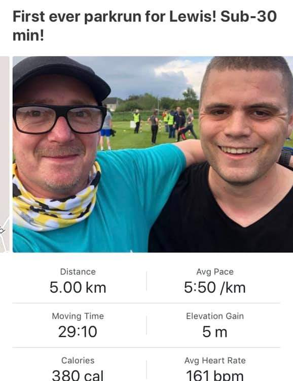 Justin and Lewis' parkrun result