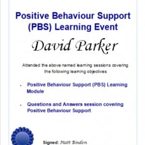 certificate for david parker - positive behaviour support